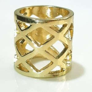 NEW Gold Boho Wide Band Net Ring